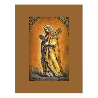 Saint Brigid Reading Her Bible Postcard