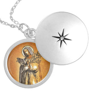 Saint Brigid with Bible and Oak Branch Locket Necklace
