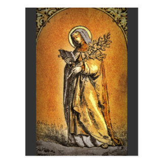 Saint Brigid with Bible and Oak Branch Postcard