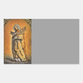 Saint Brigid with Bible and Oak Branch Rectangular Sticker
