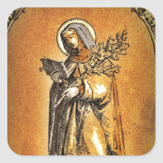 Saint Brigid with Bible and Oak Branch Square Sticker