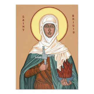 Saint Brigid with Cross and Holy Fire Card