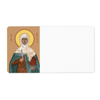 Saint Brigid with Cross and Holy Fire Label