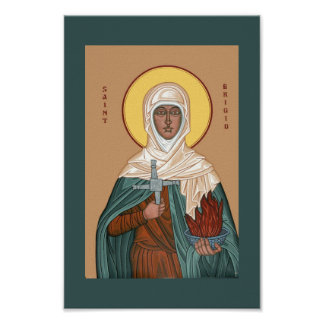 Saint Brigid with Cross and Holy Fire Poster