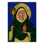 Saint Brigid with Holy Fire Greeting Card