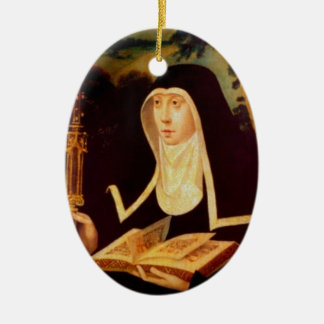 Saint Brigid's Bible and Staff Ceramic Ornament