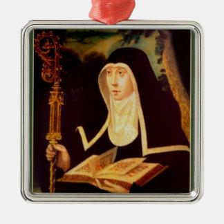 Saint Brigid's Bible and Staff Metal Ornament