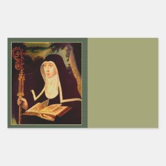 Saint Brigid's Bible and Staff Rectangular Sticker