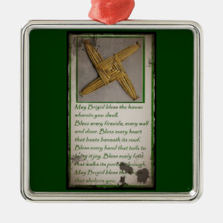 Saint Brigid's Prayer and Cross Metal Ornament