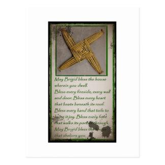 Saint Brigid's Prayer and Cross Postcard