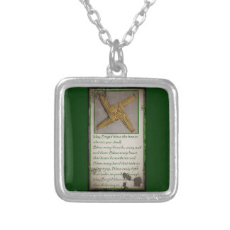 Saint Brigid's Prayer and Cross Square Pendant Necklace