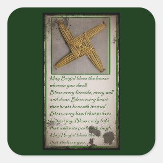 Saint Brigid's Prayer and Cross Square Sticker