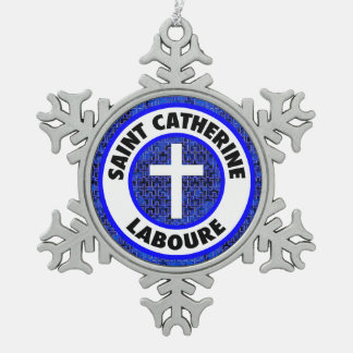 Saint Catherine Laboure Snowflake Pewter Christmas Ornament