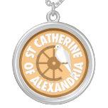 Saint Catherine of Alexandria Round Pendant Necklace
