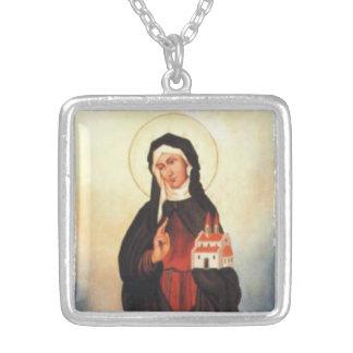 Saint Catherine of Bohemia Square Pendant Necklace