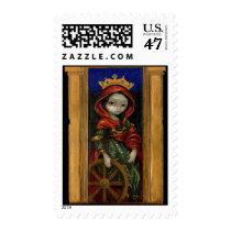 art, fantasy, history, art history, icon, icons, iconic, st., catherine, st. catherine, saint, saints, saint catherine, catholic, catholicism, greek, martyr, wheel, st. catherine's wheel, saint catherine's wheel, saint catherine of alexandria, st. catherine of alexandria, bible, biblical, christian, renaissance, female, woman, medieval, altar, altarpiece, palm, frond, religious, spiritual, maria, gothic, dark, eye, Selo postal com design gráfico personalizado