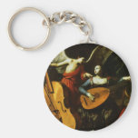 Saint Cecilia and the Angel by Carlo Saraceni Basic Round Button Keychain