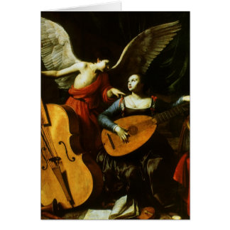 Saint Cecilia and the Angel by Carlo Saraceni Greeting Cards