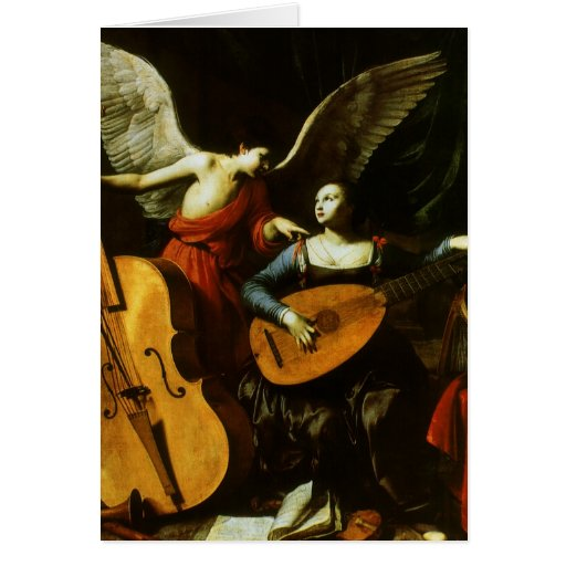 Saint Cecilia and the Angel by Carlo Saraceni Greeting Card