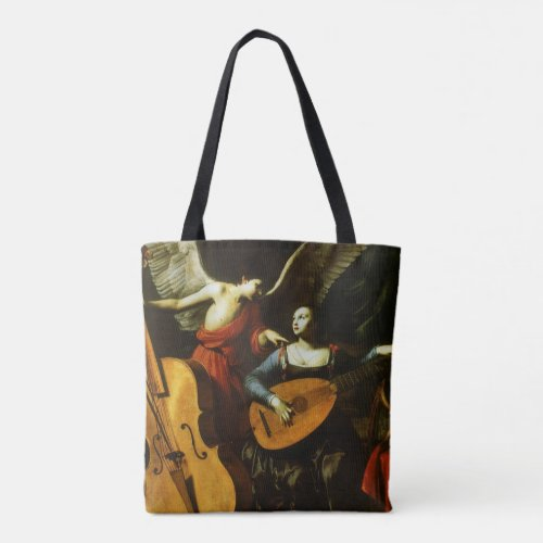 Saint Cecilia and the Angel Lute Design by Carlo Saraceni All-Over-Print Tote Bag