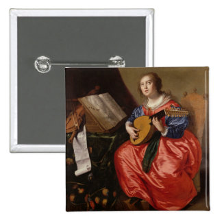Saint Cecilia (oil on canvas) Button