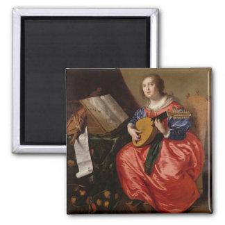 Saint Cecilia (oil on canvas) 2 Inch Square Magnet