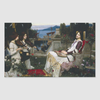 Saint Cecilia Serenaded by Angels with Violins Rectangular Sticker
