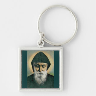 Saint Charbel Silver-Colored Square Keychain
