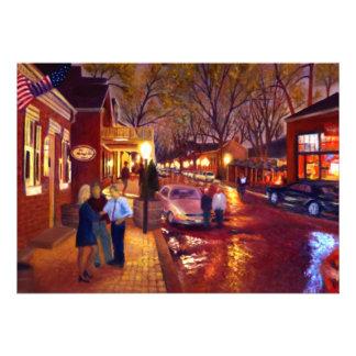 Saint Charles Cityscape Oil Landscape Painting Personalized Announcements