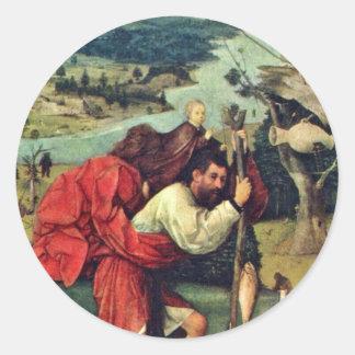 Saint Christopher. By Hieronymus Bosch (Best Quali Round Stickers
