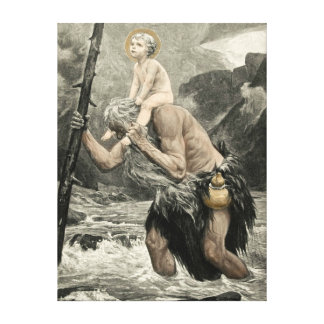 Saint Christopher Christ Travel Engraving Mogk Canvas Print