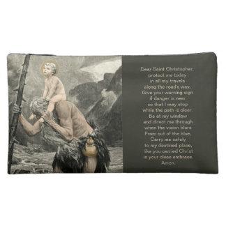 Saint Christopher Christ Travel Prayer Engraving Makeup Bag
