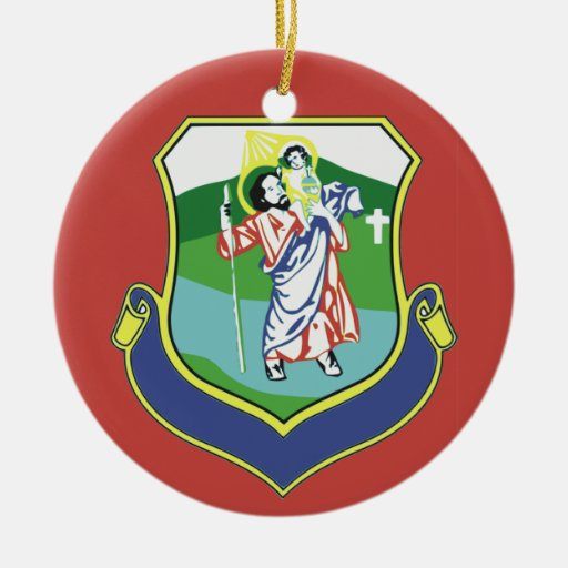 Saint Christopher Double-Sided Ceramic Round Christmas Ornament