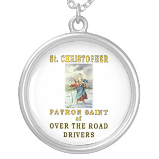SAINT CHRISTOPHER OTR SILVER PLATED NECKLACE