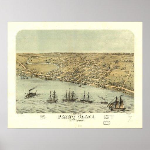 Saint Clair Michigan 1868 Antique Panoramic Map Poster