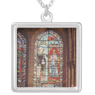 Saint Denis gives the oriflamme to Clement Silver Plated Necklace
