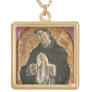 Saint Dominic (tempera on panel) Gold Plated Necklace