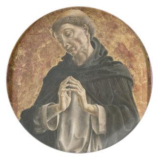 Saint Dominic (tempera on panel) Plate
