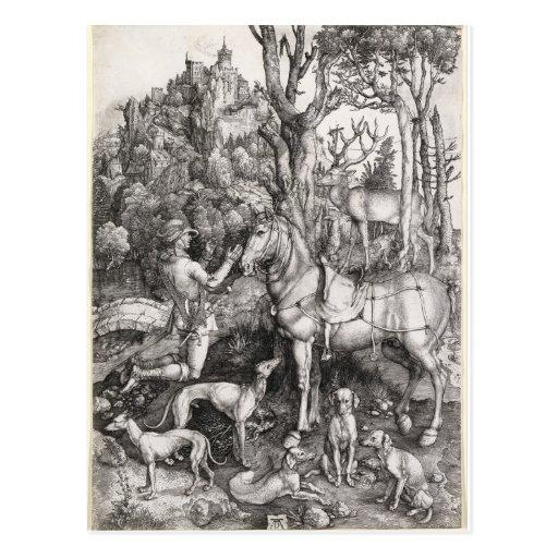 Saint Eustace Engraving by Albrecht Durer Post Cards