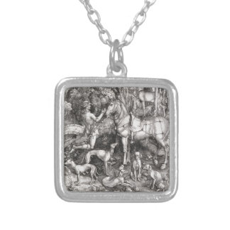 Saint Eustace Engraving by Albrecht Durer Silver Plated Necklace
