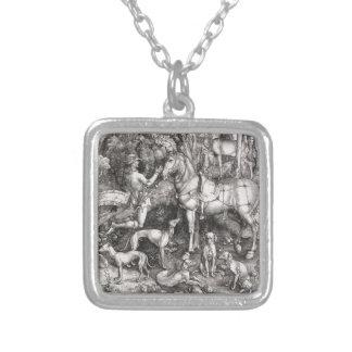 Saint Eustace Engraving by Albrecht Durer Square Pendant Necklace