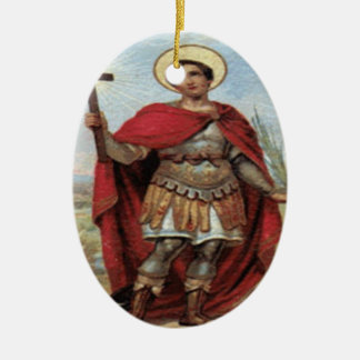 Saint Expedite and Prayer Ceramic Ornament