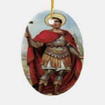 Saint Expedite and Prayer Double-Sided Oval Ceramic Christmas Ornament