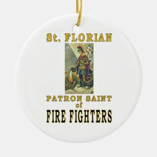 SAINT FLORIAN Double-Sided CERAMIC ROUND CHRISTMAS ORNAMENT