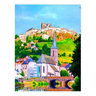 saint flour france town church peace and joy post cards