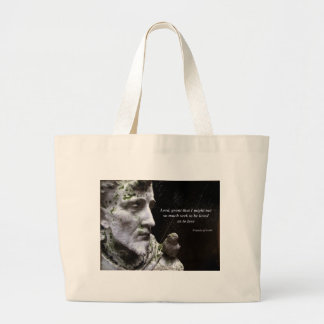 Saint Frances Statue with Quotation Large Tote Bag