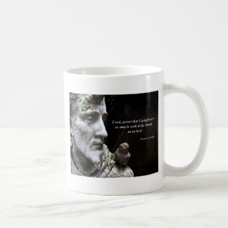 Saint Frances Statue with Quotation Classic White Coffee Mug