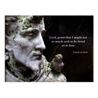 Saint Frances Statue with Quotation Postcard