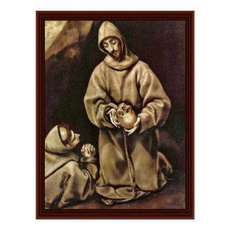 Saint Francis And Brother Leo Meditating On Death Postcards