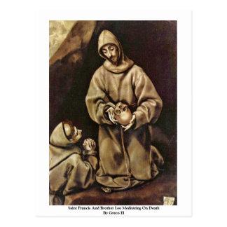 Saint Francis And Brother Leo Meditating On Death Postcard
